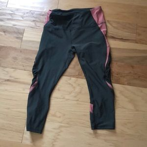 RBX yoga pants size M hunter green and pink